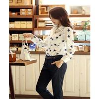 OVO!Fashion 2014 new korean OL style Pentagram long sleeve shirts women Shirt cardigan render blouse Size S-XXXL