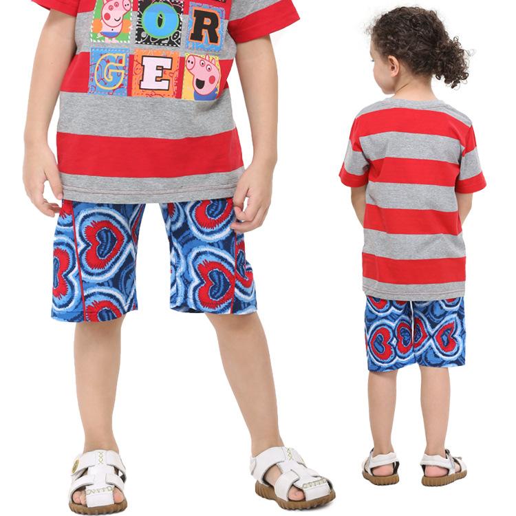Nova 2015 New Fashion Kids Wear Printed Loving Hearts Hot Sale Boys Summer Casual Short D3620 # Free Shipping(China (Mainland))