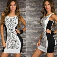 2014 summer fahion black and white mixed colors slim sleeveless women dress comfortable chiffon vest dress casual t-shirt dress