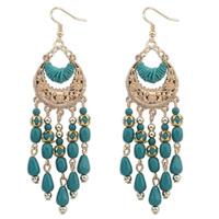 Free Shipping!temperament sweet fashion Europe and America bohemian retro tassels metal weave resin Stud Earrings 110432
