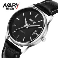 20pcs a lot Business Men Black/White Dial Leather Band  Date Japan Quartz Movement Wrist Watch Nice Gift Wholesale  Price 6115pu