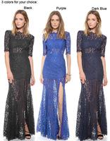 2014 Cheap Elegant Girl Scalloped Half Cap Sleeves Appliques Open Back Zipper Floor Length Long Lace  Prom Dresses
