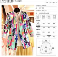 Fashion Colorful Women Ladies Geometric Coat Multi-color Patchwork Jacket Button Plus Jacket Blazer XL 2XL 3XL 4XL 5XL BYF227