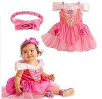 Free shipping The new 2014 Snow White dress dress + headdress of the girls baby dress,5pcs/lot