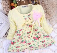 Autumn baby girl dress yellow cotton long sleeve false 2 piece floral dress kids girls princess dress children dresses 4pcs/lot