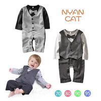 2014 New Autumn Waistcoat Bow Tie Baby Rompers Gentlemen Baby Boy Romper Suit Jumpsuit Overalls 4 pieces / lot 1223