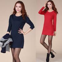women work wear dress 2014 new fashion autumn winter casual elegant solid long sleeve slim skinny pencil mini dresses S-XXXL