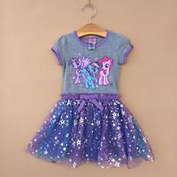 Official Original My Little Pony Dress Children Girls Short-Sleeve Tutu Mech Dress Pony Cartoon Kids Clothes NO.9001051