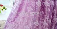 rustic curtain yarn customize beautiful purple flowers window voile tulle curtain for bedroom
