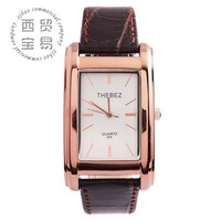 New classic vintage wholesale  Men's business Rectangle dial full stainless steel Quartz waterproof leather strap watch TBS856