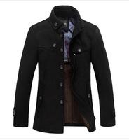 2014 New Brand Winter Men's Wool Jacket Casual Coat For Men Mens Thicken Jackets Men Overcoat Black/Gray Plus Size:M-XXXL