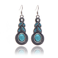 Brand design hot sales new fashion Personalized Cross Turquoise Silver plating long drop earrings jewelry for woman 2014 M11