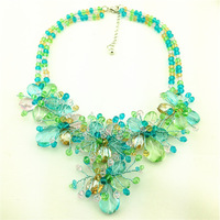 Transparent crystal flower water drop women Chain Vintage Necklaces & Pendants collar luxury choker chunky pendant necklace 2014