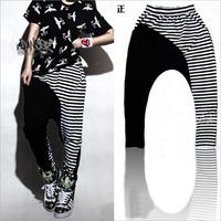 DJ-19 Strip black and white Patchwork Hip hop pants Capris Hip hop women Dance Somen's sports pants Hip hop women Joggers