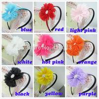 Free Shipping 10 Pcs/lot Baby Chiffon Flower Hairband,Kids Hairband With Flower,Handmade Flower Hairband With TeethCNHB-14093005