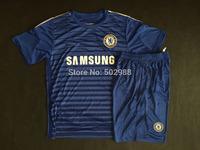Best quality 2014/15 Chelsea blue soccer jersey & shorts uniforms Chelsea HAZARD DROGBA DIEGO COSTA football shirt kit 2015