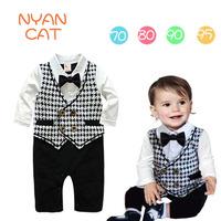 2014 New Autumn Long Sleeve Bow Tie Baby Rompers Gentlemen Plaid Baby Boy Romper Suit Jumpsuit Overalls 4 pieces / lot 1224