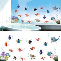 45x60cm Ocean Bubble Fish For Kids Children Room Cute Wall Sticker Cartoons