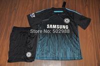 Best quality 2014/15 Chelsea away black soccer jersey & shorts uniforms,HAZARD DROGBA DIEGO COSTA football shirt kit 2015