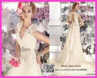 Vestido Noiva Casamento 2015 Cap Sleeve Wedding Dress Lace Bridal Gown A Line Court Train Sash Backless W3413