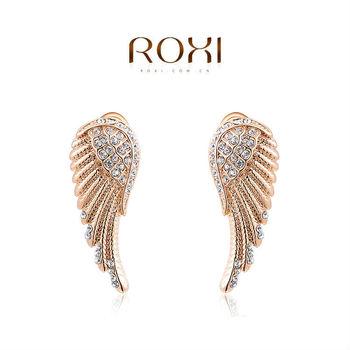 Roxi роскошные женские cерьги ручной работы с гравировкой в виде крыльев англела, изготовлены из красного золота (позолота) трех разовое золотое напыление, россыпь австрийский кристаллов, 100% качество