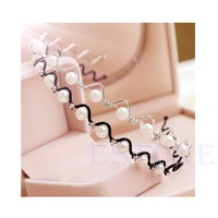 Korean Fashion Rhinestone & Imitation Pearl Wave Hairpin Hair Band Headband Accessories Hot selling WF32