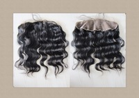 "Free Shipping 14Inch (13""X2"") Brazilian Virgin Hair Malaysian Curl Lace Frontal Bleach Knots"