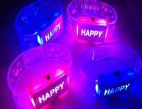 15pcs/lot Hot sale! Festive supplies colorful led bracelet glowing Happy bracelet led light up decorations