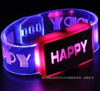 Free shipping 6pcs/lot Flashing Wrist Band HAPPY Luminous Hand Ring Led Bracelet Children Party Toy