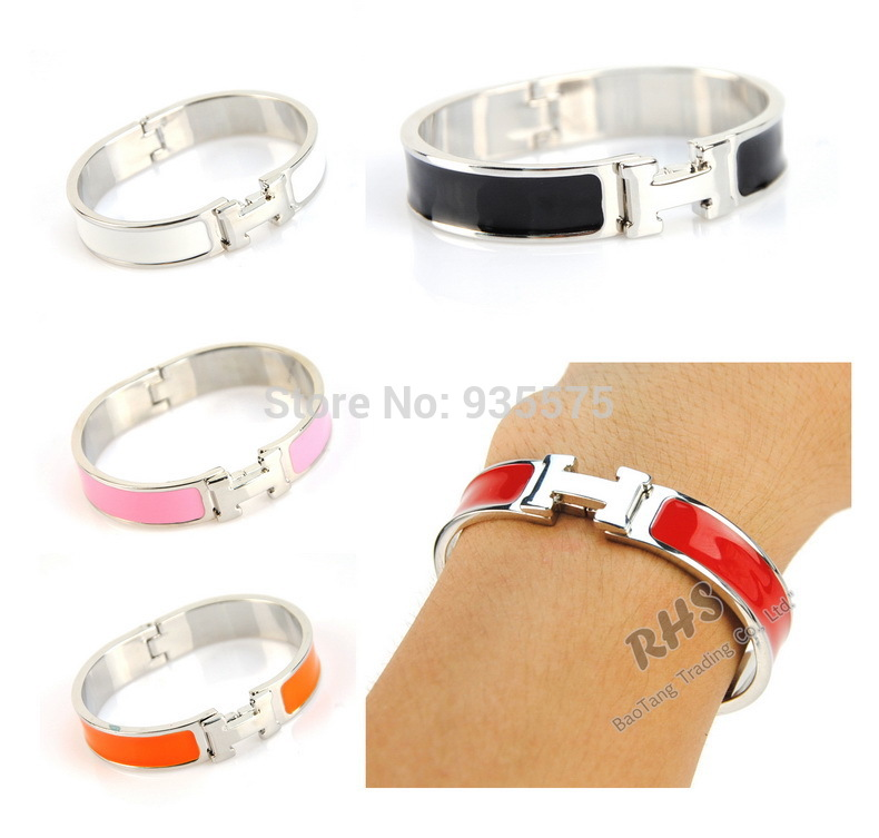 Women Metal Alloy H Letter Bangle Silver Plated Bracelet Enamel Wristband Fashion Cuff Jewelry Clic Clac Elegant Lady Accessory(China (Mainland))