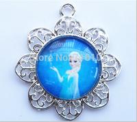10pcs/lot Frozen design children chunky necklace pendants! frozen character Elsa kids trendy necklace princess pendants!