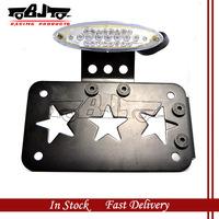 BJ-LPL-026  MOTORCYCLE Clear 18+5 LEDS Tail  light  Black Side Mount  Registration Plate Holder
