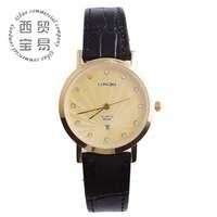 Hot 2014  fashion gold watch brand genuine leather for women calendar diamond quartz watch LB8858a-08