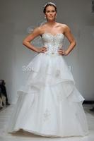 Casual A-Line Sweetheart Appliues Top Court Train Organza  Ruffles Wedding Gowns