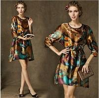 Women's Three Quarter Sleeve Vintage Pattern Dress, Comfortable Fancy Prints Loose Style Silky Dress