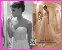 Tony Sweetheart Bridal Dress Lace Wedding Gown 2015 Sweep Train Tulle Floor Length Vestidos De Noivas W3375