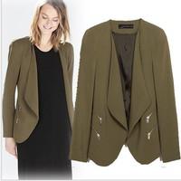 New 2015 Brand Design Fashion Womens Double Zipper Deco Cardigan Blazer feminino casual Blazers SML