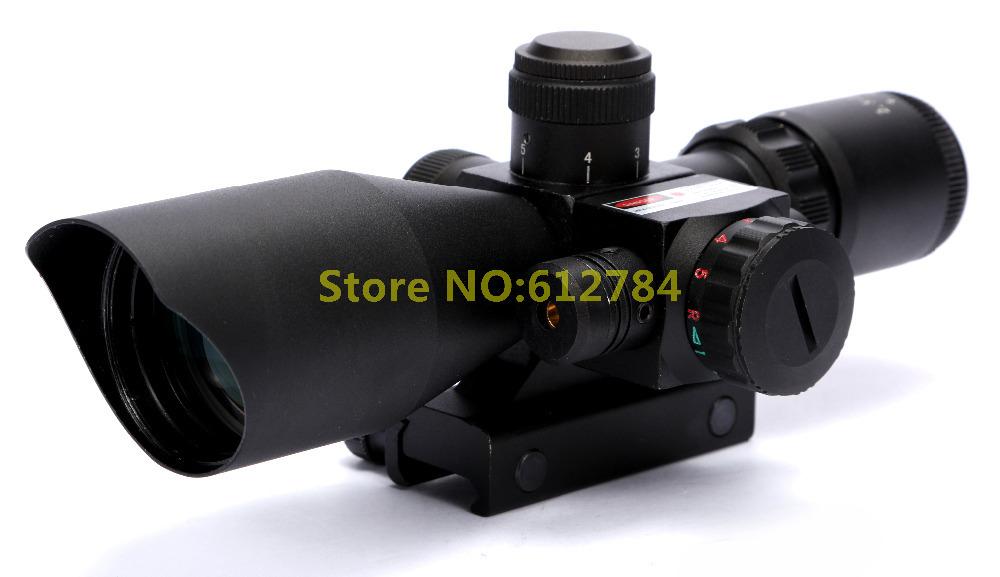 Optics 2.5-10x40 Hunting Red Laser Riflescope with Mini Red Dot Sniper Rifles Scope Combo Sight Free Shipping(China (Mainland))