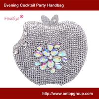 Apple shaped colorful diamond studded luxury wedding clutch handbag