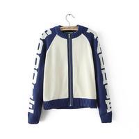 2014 autumn women sport active knitted cream blue contrasted letter woolen jacket stand colloar zipper closure outwear 408016