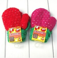 3PAIRS/LOT Hot selling Winter Warm Girls Gloves Full Fingers Decor with Dots Thermal Gloves With strings