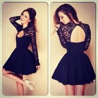 New 2014 Spring Autumn Sexy Club Wear European Women Fashion Black Open Back High collar Long Sleeve Lace Dress