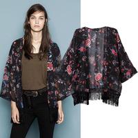New Women Lady Printed Tassel Chiffon Tops Kimono Coat Cape Blazer Jacket Tonsee