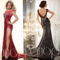 Bling 2015 Black Red Cap Sleeve Crystals Mermaid Prom Dress Floor Length Evening Gown Side Split Sequins