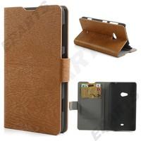 For Nokia Lumia 625 Flip Case , Wood Grain PU Leather Wallet Flip Case Cover With Stand for Nokia Lumia 625 1PCS Free Shipping