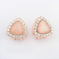 Free Shipping! fashion Europe and America individuality geometry triangle CZ Diamond crystal  gem flower Stud Earrings 110400