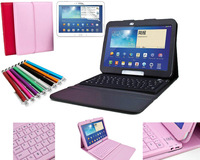 New Arrival Silicon Bluetooth Keyboard Tablet Stand Leather Case Cover for Samsung Galaxy Tab 3 10.1 P5200 P5210 P5220+pen&film