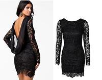 2014 autumn new models backless dress lady dress fashion hollow