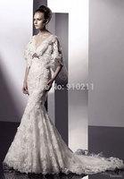 High Quality V Neck Sweep Train Lace Mermaid Cap Sleeves Wedding Dresses Bridal Dresses
