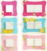 Creative applique switch sticker Pearl Flower Dot design socket sticker free shipping
